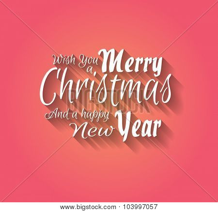 Merry Christmas and Happy New Year Type with Elegant clean style and soft shadow of a colorful background with gradient.