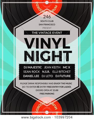 Vector vintage vinyl LP DJ party poster