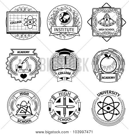 High education, university and academy logotypes