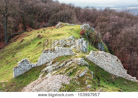 Ruins Of Castle Hrusov And Surrounding Countryside