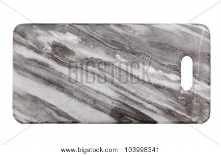 Marble cut board isolated on white background