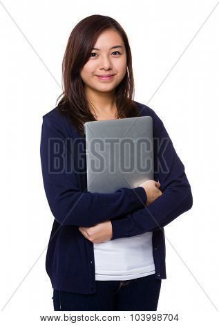 Asian woman hiold with notebook computer