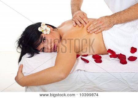 Closeup Of Woman Getting Kneading Back Massage