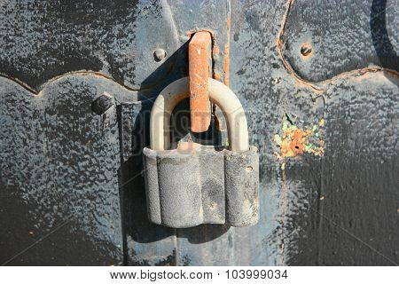 Metal lock on iron door closeup