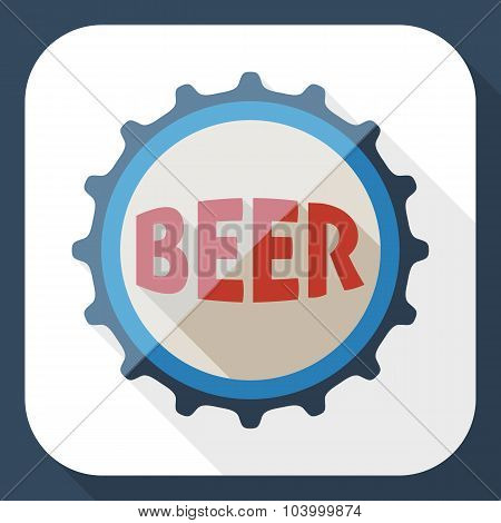 Beer Bottle Cap Icon With Long Shadow