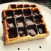 Постер, плакат: Chocolate Covered Vienna Waffles On The Plate