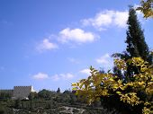 Jerusalem Walls On The Bright Autumn Day. poster
