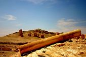 foto of euphrat  - lying column at ancient palmyra in syria - JPG