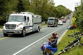 foto of mustering  - rescue vehicles on display during a fire muster parade - JPG