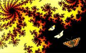 stock photo of mandelbrot  - Three different butterflies on a Mandelbrot Fractal background - JPG