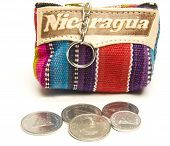 image of memento  - souvenir memento key chain change purse hand made woven colorful fabric made in Nicaragua with cordoba coins - JPG