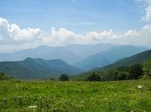 stock photo of blue ridge mountains  - View of Smoky Mountains from Hemphill Bald trail - JPG