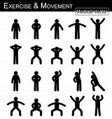 Exercise And Movement ( Move Step By Step )( Simple Flat Stick Man Vector ) poster