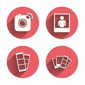 Постер, плакат: Photo camera icon Flash light and selfie frame