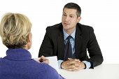stock photo of interview  - job interview  isolated on white background man and woman - JPG