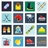 Winter sport vector icons set. Winter sport games icons pictograms. Winter sports icons flat design.