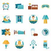 Постер, плакат: Flat Icons Sleep Time