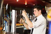 Side view of barkeeper holding glass in front of beer dispenser at bar poster