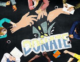 stock photo of generous  - Donate Money Charity Generous Hands Concept - JPG
