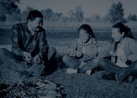 picture of mongolian  - Mongolian Family Enjoy Camping River Leisure Concept - JPG
