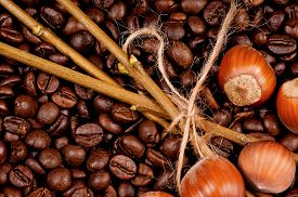 stock photo of filbert  - Closeup of coffee beans and filberts  - JPG