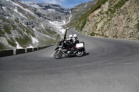 picture of italian alps  - Serpentine road in the italian Alps leads to Stelvio Pass - JPG
