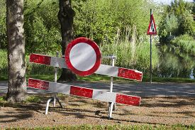 foto of no entry  - Construction barrier with a no entry sign - JPG