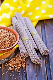 foto of buckwheat  - buckwheat noodles and buckwheat on a table - JPG