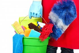 picture of maids  - Maid hands with cleaning tools - JPG