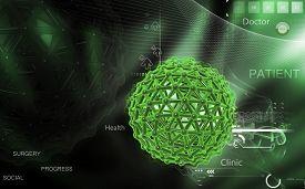 image of genes  - Digital illustration of gene in colour background - JPG