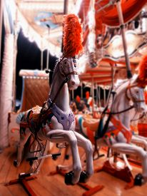 picture of carousel horse  - Retro carousel at night. Horse in electric light ** Note: Shallow depth of field - JPG