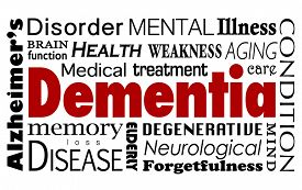 picture of medical condition  - Dementia word in a collage of related medical terms and conditions such as Alzheimer - JPG