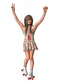 stock photo of inline skating  - 3D digital render of a cute girl on inline skates isolated on white background - JPG