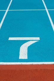 stock photo of olympiade  - Athletics Track Lane in the stadium No7 - JPG