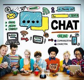 stock photo of chat  - Chat Chatting Communication Social Media Internet Concept - JPG