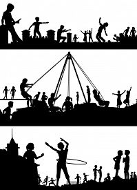 picture of playground school  - Set of illustrated foreground silhouettes of children playing in school playgrounds - JPG