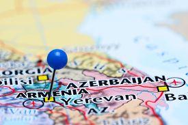stock photo of armenia  - Photo of pinned Armenia on a map of Asia - JPG