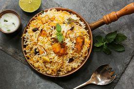 pic of raita  - Fish Biryani with Raita Basmati rice and Indian spices - JPG