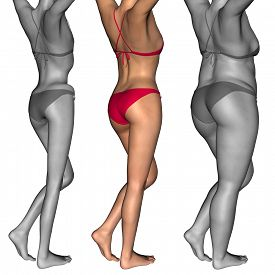 stock photo of emaciated  - Concept or conceptual 3D woman or girl as fat - JPG