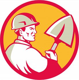 stock photo of spade  - Illustration of a construction worker wearing hard hat holding spade viewed from side set inside circle done in retro style - JPG