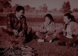 stock photo of mongolian  - Mongolian Family Enjoy Camping River Leisure Concept - JPG