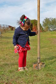pic of spade  - Little girl stands with big garden spade in her hand stuck in ground - JPG