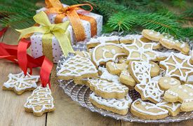 image of shortbread  - Homemade christmas shortbread cookies on a glass plate - JPG