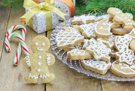 picture of shortbread  - Homemade christmas shortbread cookies on a glass plate