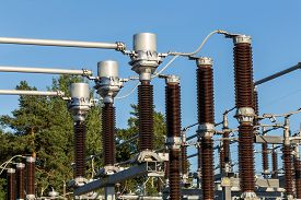 pic of substation  - Electric substation tower for generating energy with sky background - JPG