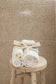 stock photo of stool  - Hotel bathroom decor closeup - JPG