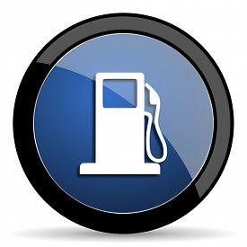 picture of petrol  - petrol blue circle glossy web icon on white background - JPG