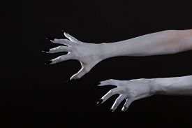 picture of pale skin  - Scary pale ghost hands with black nails - JPG