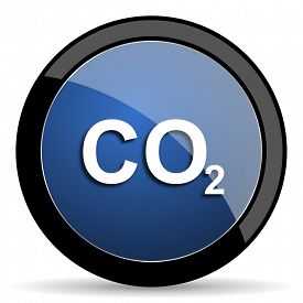 stock photo of carbon-dioxide  - carbon dioxide blue circle glossy web icon on white background - JPG