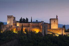 foto of nightfall  - Nightfall in La Alhambra Granada Andalucia Spain - JPG